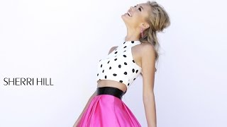 Sherri Hill 32210 Prom Dress | Polka Dots Pink Satin Skirt Two-Piece Crop Top