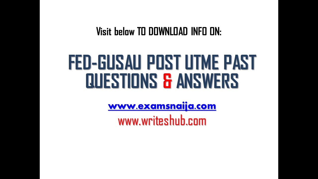 how to get federal university gusau post utme aptitude test how to get federal university gusau post utme aptitude test past questions and answer