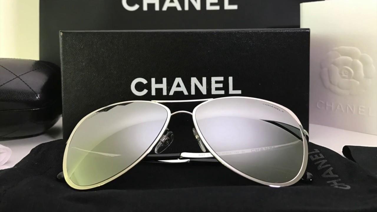 b3385c77803 Unboxing Chanel Aviator Sunglasses in metal grey 2017 - YouTube