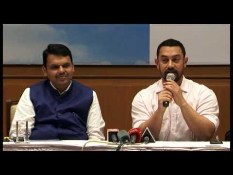 UNCUT Aamir Khan And CM Devendra fadnavis Press Conference for Maharashtra Jalyukta Shivar -1
