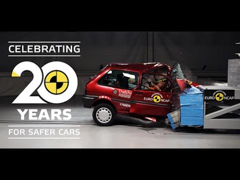 Euro NCAP crash testing an old Rover 100 and a recent Honda Jazz