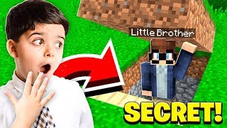 I FOUND My Little Brother's *SECRET* Base in Minecraft!