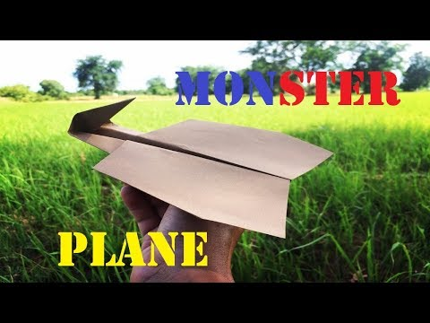 How To Make a Monster Paper Airplane | Origami The Best Fly Monster Plane