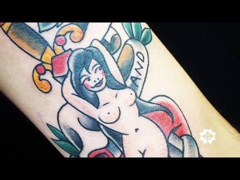 Pin Up and Dagger Old School Tattoo