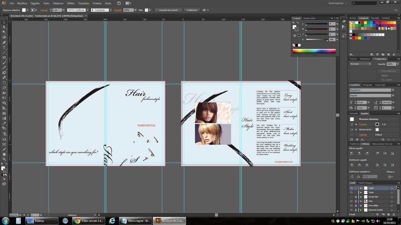 Tutorial Illustrator  Progettare una brochure Parte 1  YouTube