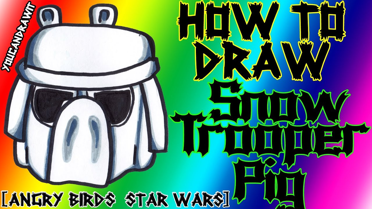 How To Draw Snowtrooper Pig From Angry Birds Star Wars