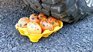 Crushing Crunchy & Soft Things by Car! - ASMR sound crushing : smile eggs
