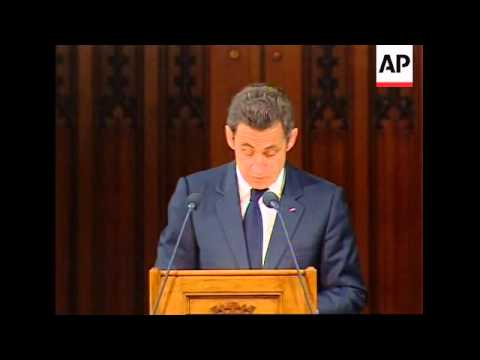 WRAP President Sarkozy speech to UK parliament ADDS s'bites