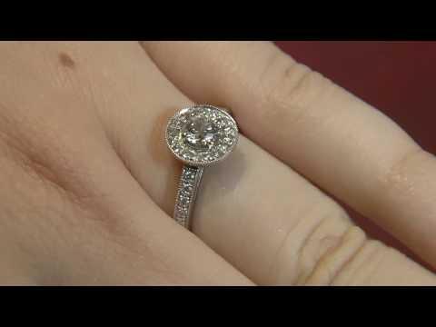 VR1031 Halo Diamond Engagement Ring, Dublin.