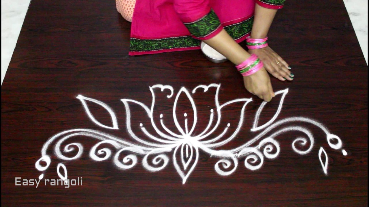 simple and easy lotus rangoli side designs muggulu side designs side designs for kolam. Black Bedroom Furniture Sets. Home Design Ideas