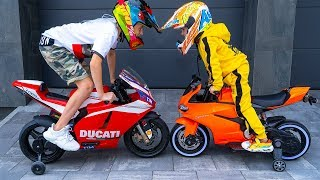НАКАЗАТЬ за ТАКОЕ!!!Tisha and Dania ride on children's motorcycle and stuck in the ground .
