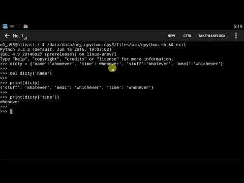 Qpython tutorial -14 More On Dictionaries
