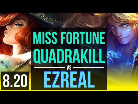 MISS FORTUNE & Braum vs EZREAL & Rakan (ADC)   Quadrakill, KDA 15/1/5   Korea Diamond   v8.20