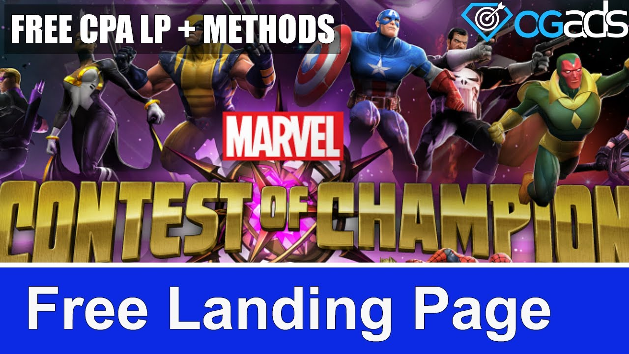 🔥 Free Marvel Contest of Champions CPA Landing Page Optimized for OGAds + Content Locker