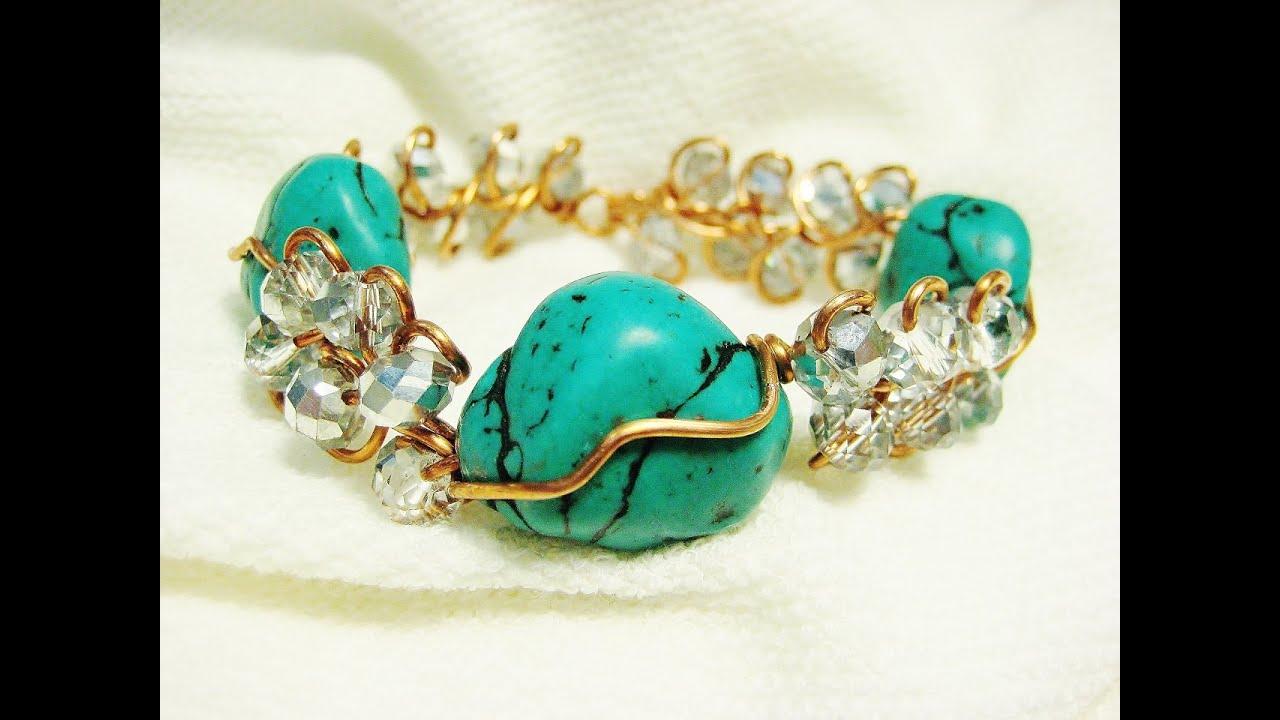 Easy Wire Wrap Loop Da Loop Turquoise Bracelet | Liz Kreate - YouTube