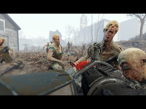 Fallout 4: 300 Ghouls VS Minigun