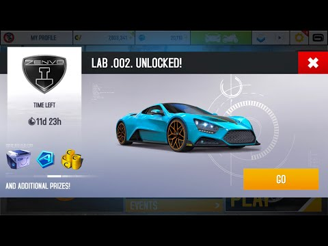 Asphalt 8, ZENVO TS1 GT 10th AE, starting the 2nd Lab and upgrading from 1668 to 1736