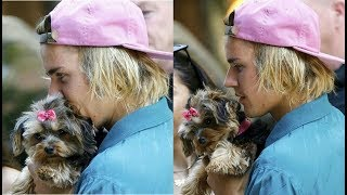 Justin Bieber with a cute fan's dog in Brooklyn, New York - July 13, 2018