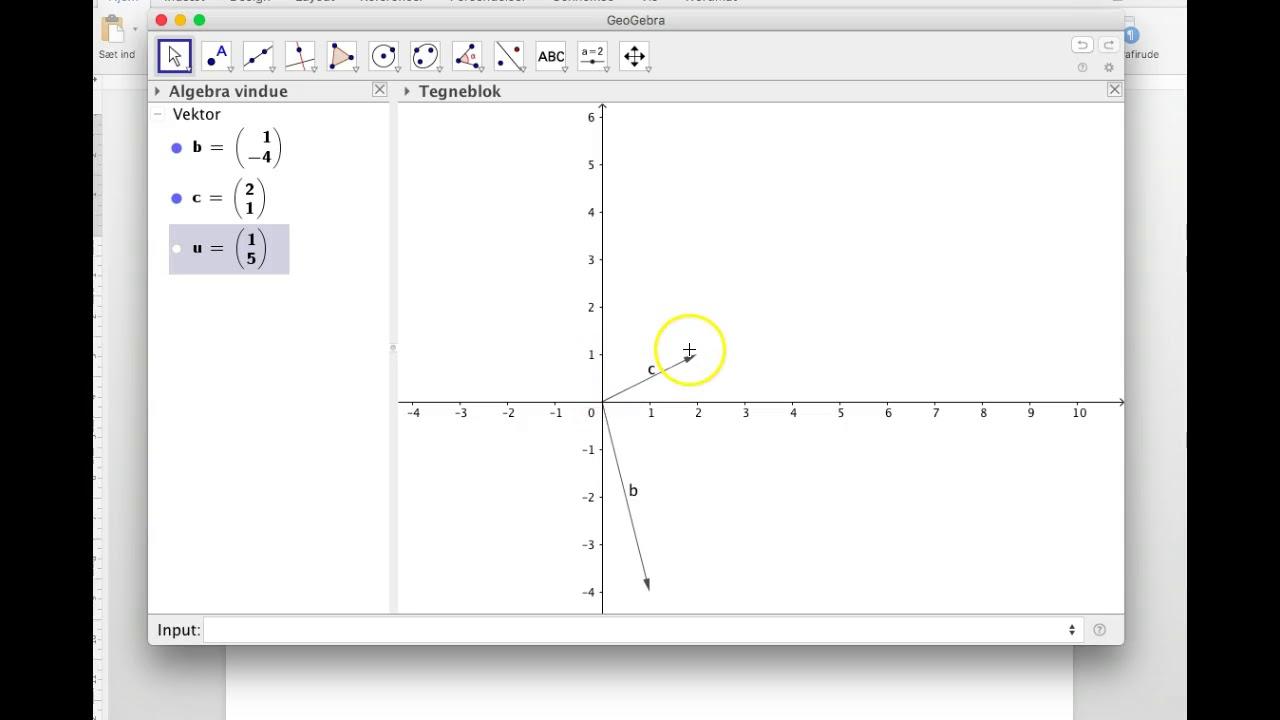 Subtraktion af vektorer i GeoGebra