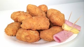 Stuffed Potato Croquette Recipe - Fried Potatoe With Cheese And Ham