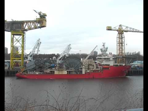 Pipelaying Vessel Apache ll on the River Tyne 9th March 2015