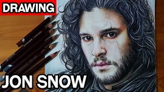 Drawing Jon Snow - Kit Harington | Game of Thrones | Colored Pencil Speed Drawing
