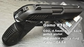 Gamo PT-85 blow back air pistol - fast shoot & hit in slow motion