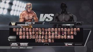 WWE 2K15:Character Select Screen Including All Overall Ratings DLC Packs Roster