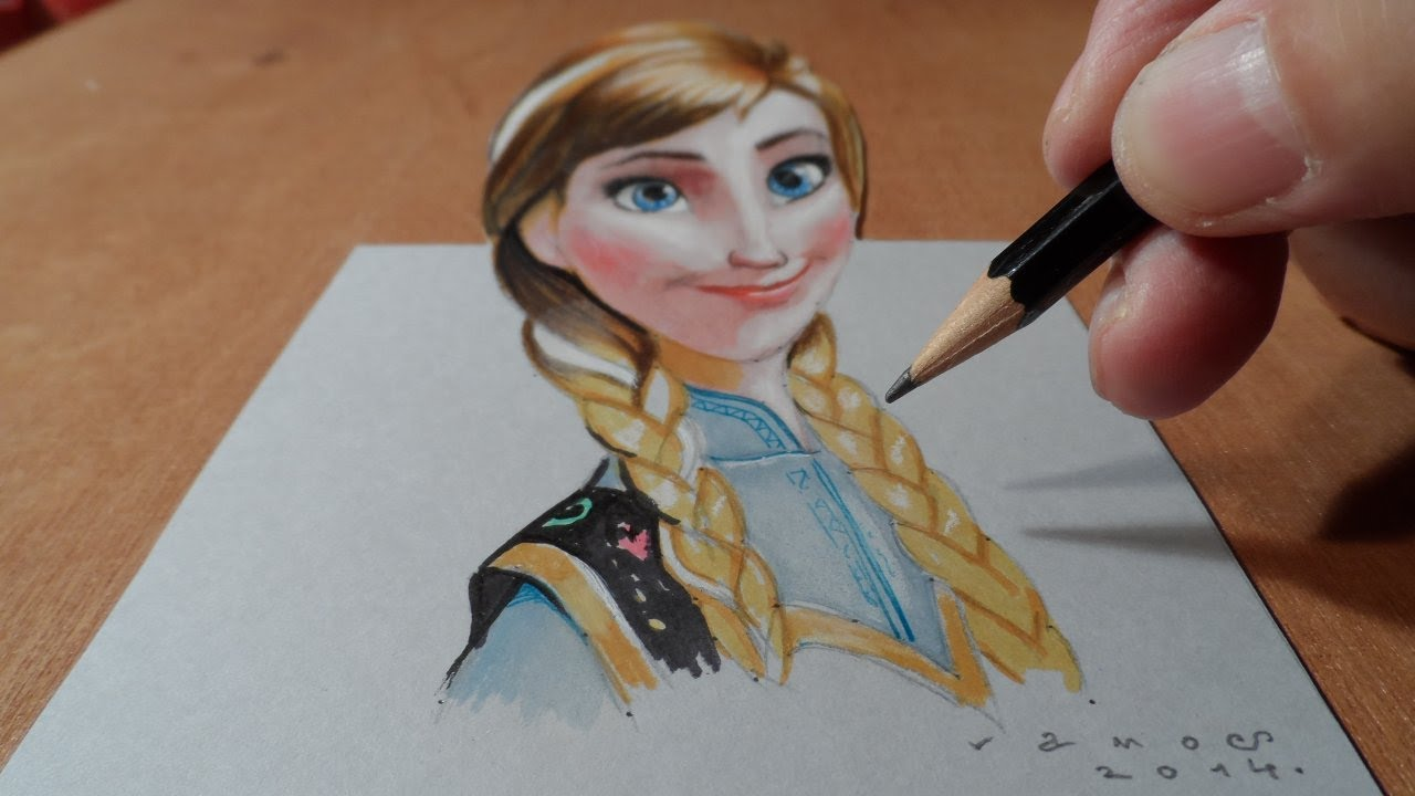 Drawing Anna from Frozen, Trick Art, 3D Illusion - YouTube