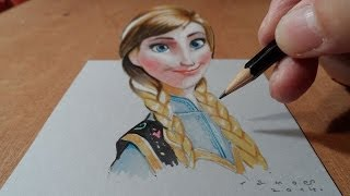 3D Drawing Anna from Frozen, Trick Art, Time Lapse