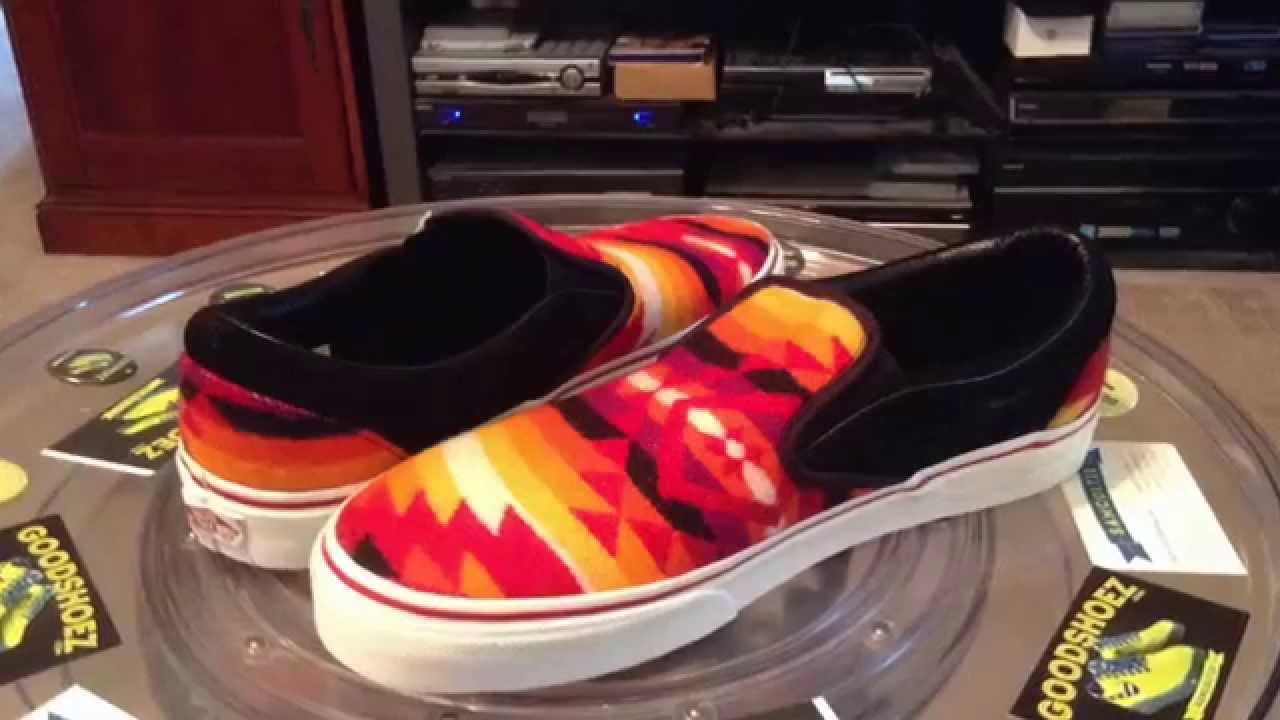 All Nations Skate Jam x Vans with Pendleton shoes red slip ons gkjSMVh