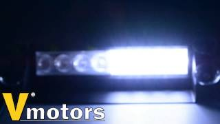 8-LED White Amber Dash Warning Caution Police Emergency Flash Strobe Light Bar