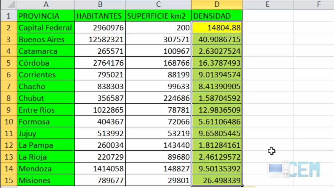 Excel 5: Ejercicio 7 (Tabla de Densidad de Población) - YouTube