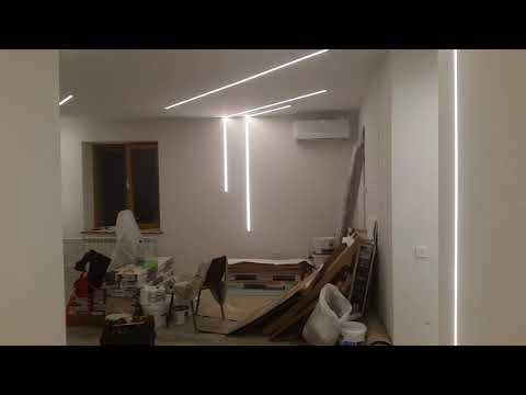 Линейные светильники из алюминиевого профиля со светодиодной лентой. Результат монтажа.