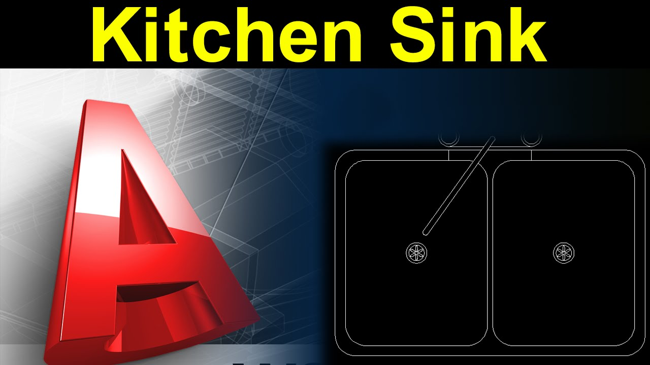 Autocad Tutorial:Kitchen Sink Design with Actual Dimension - YouTube