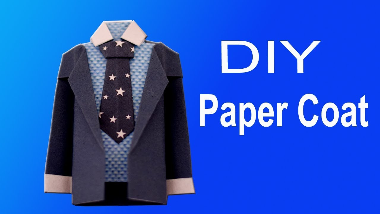 ee83a7df How to make a Paper Coat Easy | Tie Shirt Jacket Origami Paper crafts |  Origami suit Jacket Tutorial