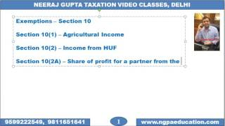 V 04 Income Tax Quick Revision Video Number 04 (Neeraj Gupta Taxation Video Classes)(www.ngpaeducation.com Video Number 04 covers EXEMPTIONS U/S 10(1), 10(2), 10(2A), 10(34), 10(35) & 10(38) (Chapter – Basics of Income Tax). Created ..., 2016-11-12T05:27:22.000Z)