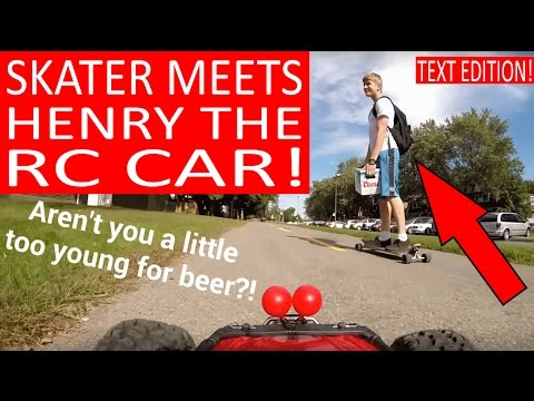 """🔴 SKATEBOARDER IS FOLLOWED BY """"HENRY THE FPV RC CAR""""!"""