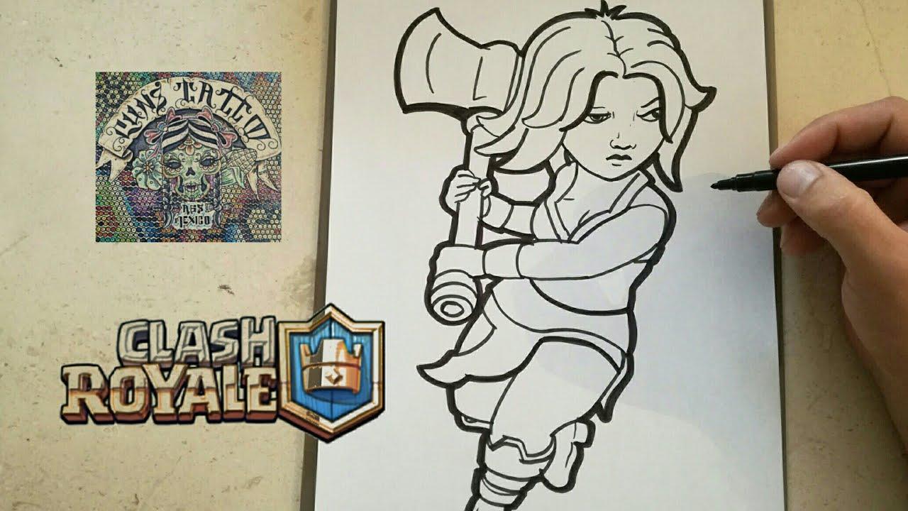 Clash Royale Personajes Para Colorear: COMO DIBUJAR A VALQUIRIA / How To Draw Valquiria