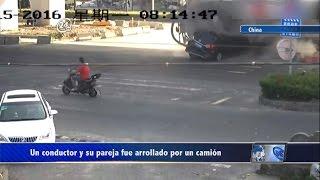 Global: Un conductor junto a su pareja fue arrollado por un camión