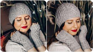 Модная женская шапка спицами. Шапка бини. Кельтская коса. Подробный МК для начинающих