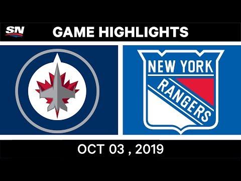 NHL Highlights   Jets Vs. Rangers - Oct. 03, 2019