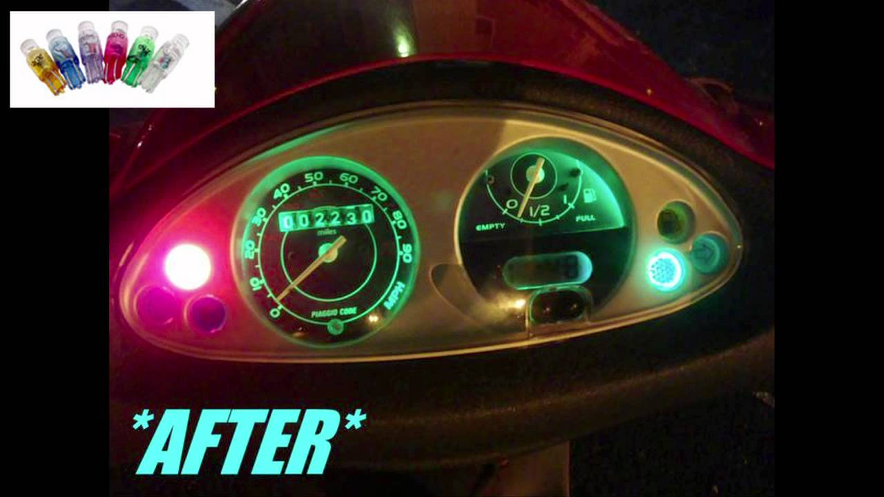 Piaggio Fly 50cc 125cc 150cc LEDs in dash light - YouTube