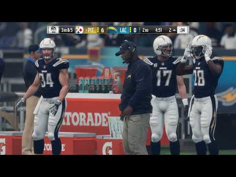 Madden NFL 18 All Madden Default Test | Steelers vs Chargers | PS4 Pro Gameplay