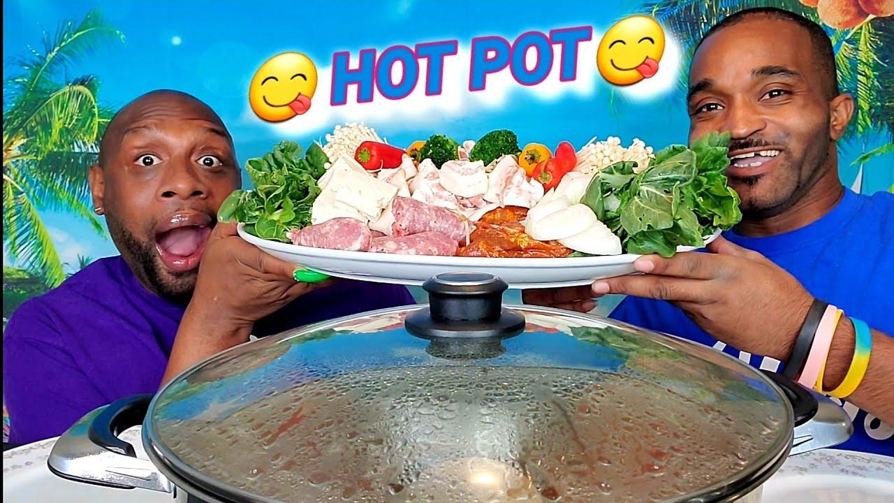 """KOREAN BBQ, BRATWURST, & PORK BELLY """"HOT POT"""" MUKBANG 먹방 ... HUBBY EDITION ... EATING SHOW 먹방 ..."""