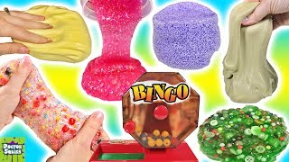 Slime Mixing Bingo! New Slimes! Floam Kinetic Sand Butter Slime Glitter Crunchy Slime Doctor Squish