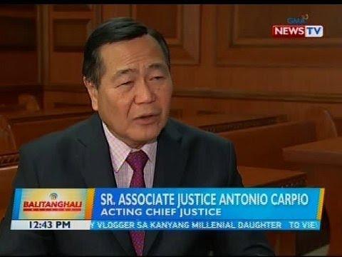Sr. Assoc. Justice Carpio, ikinatuwa ang nominasyon bilang susunod na chief justice