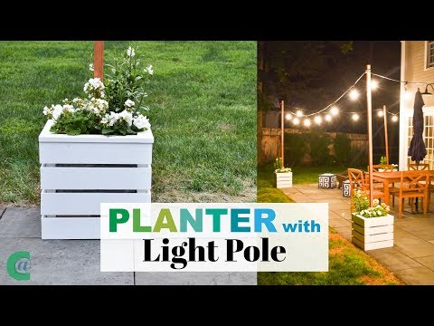 Wooden Planters with Pole for String Lights - YouTube