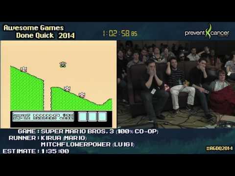 Super Mario Bros 3 SPEED RUN :: 100% Co-op (1:26:34) +Any% Run [NES] #AGDQ 2014