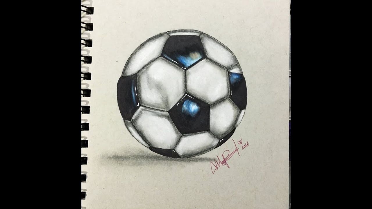 COMO DIBUJAR UN BALON DE FUTBOL REALISTA  HOW TO DRAW FOOTBALL
